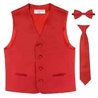 Boys Red Vest Bow-tie Tie Special Occasion 3 Pcs Set