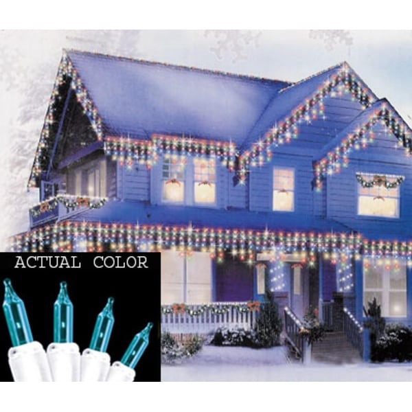 Set of 100 Teal Mini Icicle Christmas Lights - White Wire