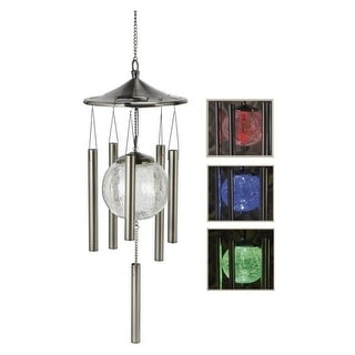 Sunergy 50403337 Windlights Solar Lighted Wind Chime, Blue, Green, Red Glass, Stainless Steel