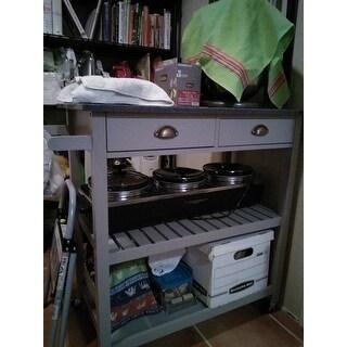 Simple Living Oregon 2 Drawer Rolling Kitchen Island