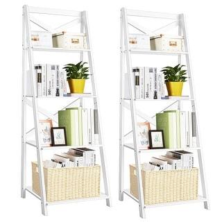 Link to Costway Set of 2 Ladder Shelf 4-Tier Bookshelf Bookcase Storage Similar Items in Bookshelves & Bookcases