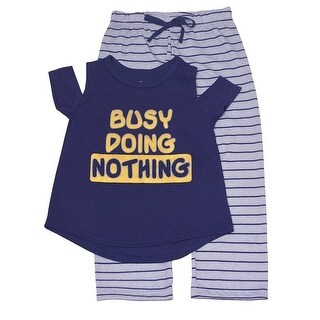 "Little Girls Navy Gold ""Busy Doing Nothing"" Cold Shoulder 2 Pc Pajama Set"
