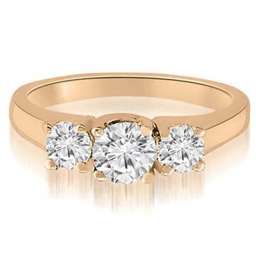 1.00 cttw. 14K Rose Gold Classic Lucida 3-Stone Round Diamond Engagement Ring