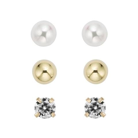 PEARLYTA AAA Quality White Round Cultured Freshwater Pearl and 14K Yellow Gold Ball & Cubic Zirconia Stud Earring Set for Women