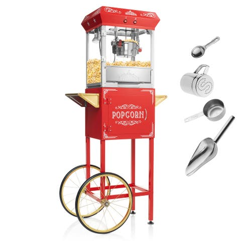 Vintage Style Popcorn Machine Popper with Cart and 6-Ounce Kettle