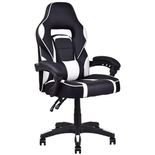 Costway Executive Racing Style PU Leather Gaming Chair High Back Recliner Office White