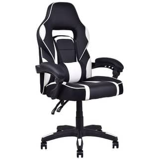 Costway Executive Racing Style PU Leather Gaming Chair High Back Recliner Office White|https://ak1.ostkcdn.com/images/products/is/images/direct/fc3263c92e849972ef95b3d86bbf602f5c25efad/Costway-Executive-Racing-Style-PU-Leather-Gaming-Chair-High-Back-Recliner-Office-White.jpg?impolicy=medium