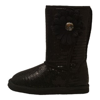 L'Amour Little Girls Black Sequin Gemstone Flower Applique Boots 5-10 Toddler