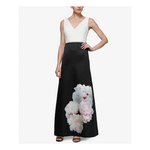 SLNY Womens Black Placed Floral Sleeveless Maxi Evening Dress Size 4