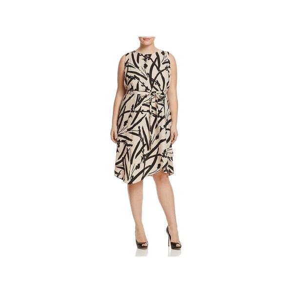 Foxcroft Womens Plus Brushstroke Casual Dress Linen Printed