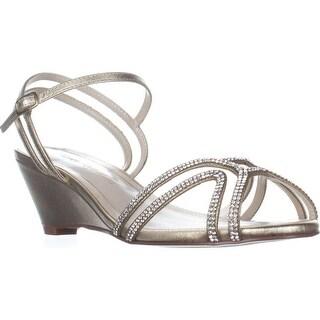 Caparros Hilton Low-Heel Dress Wedge Sandals, Gold Metallic