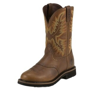 Justin Work Boots Mens Stampede Round Toe Western Sunset Brown WK4655