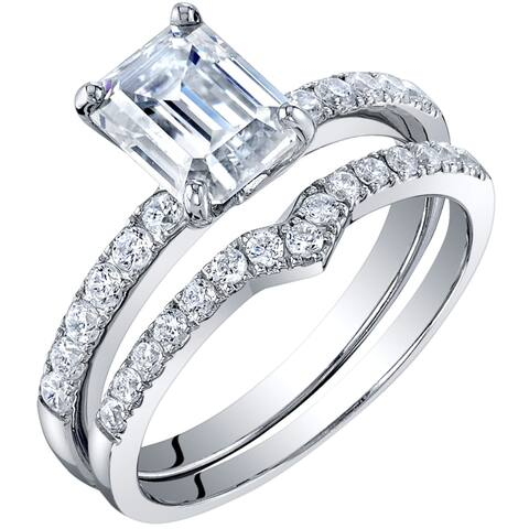 2 Carat Moissanite Emerald Cut Engagement Ring Wedding Band Bridal Set in Sterling Silver