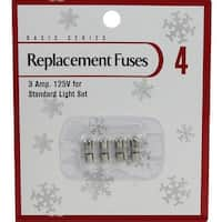 Pack of 4 Replacement Fuses for Mini Christmas Lights - 3 Amps