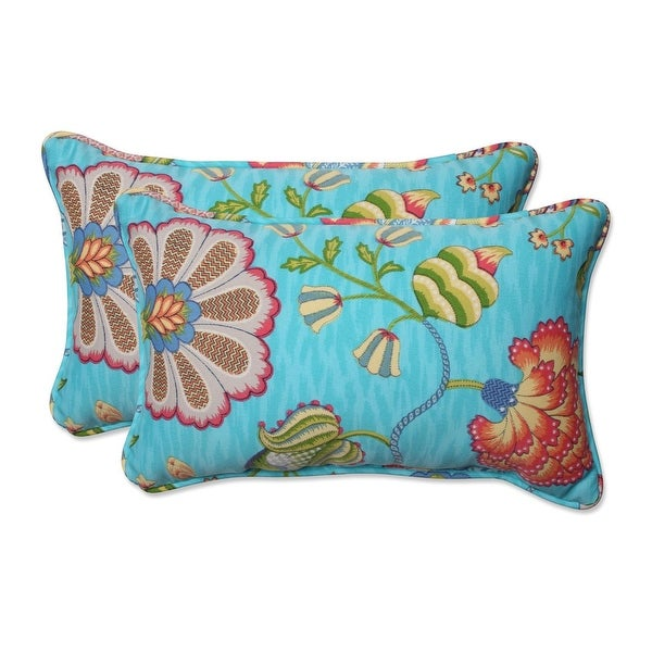 Set of 2 Vibrant Mermaid Blue Rectangular Floral Indoor Throw Pillow 18.5