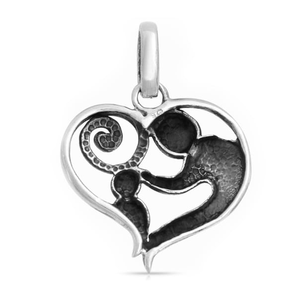 Mother Loving Child Son Or Daughter Heart Shape Pendant Sterling Silver Necklace