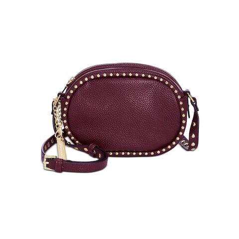 STEVE MADDEN Women's Burgundy Embroidered Leather Adjustable Strap Crossbody Handbag Purse