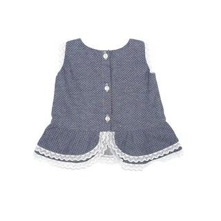 Coquelicot Baby Girls Blue Viella Azzuro Pique Trimmed Camilla Dress