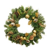 "24"" Pre-Decorated Gold Pine Cone, Apple and Ball Ornament Artificial Christmas Wreath - Unlit - green"