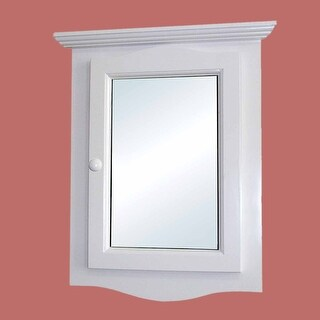 Corner Medicine Cabinet White Hardwood Wall Mount Recessed Mirror Easy Clean Two Shelves Space Saver