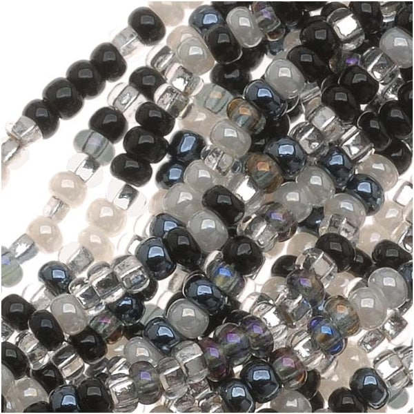 Czech Seed Beads Mix Lot 11/0 Top Hat Black White Silver