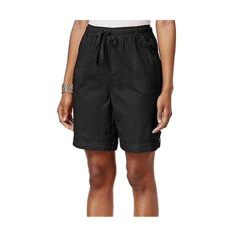 Karen Scott Petite Adelina Tab-Cuff Drawstring Shorts, Deep Black, Petite/Medium - P/M