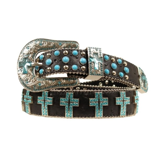 Blazin Roxx Western Belt Womens Turquoise Crystal Cross Black