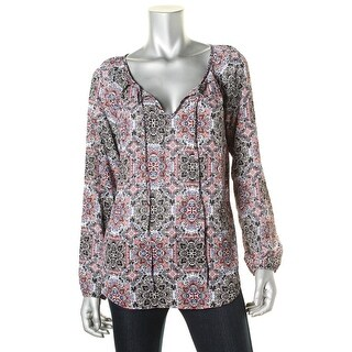 Stoosh Womens Juniors Printed Long Sleeve Pullover Top