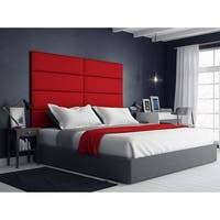 Vant Upholstered Wall Panels (Headboards) Sets of 4 - Micro Suede Red Melon - 39 Inch - Twin-King.