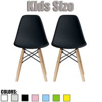 2xhome - set of 2 black Plastic Wood Chairs Natural Wood Kids Children