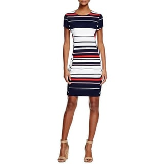 Three Dots Womens Crystal Casual Dress Striped Short Sleeves
