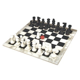 Black & White Alabaster Chess Set - Multicolored