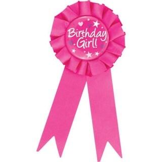 "Club Pack of 12 Decorative Fuchsia Pink ""Birthday Girl"" Award Ribbons 6.25"""