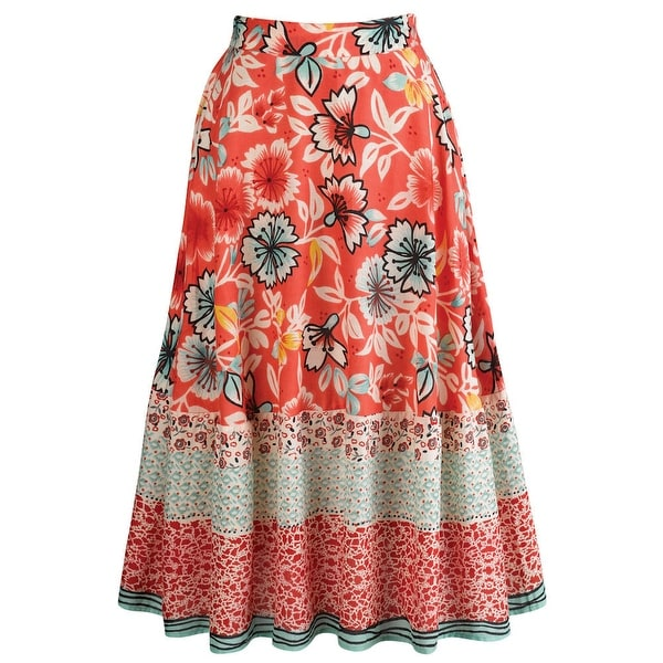 Women's Rosarita Peasant Circle Skirt - Red Floral