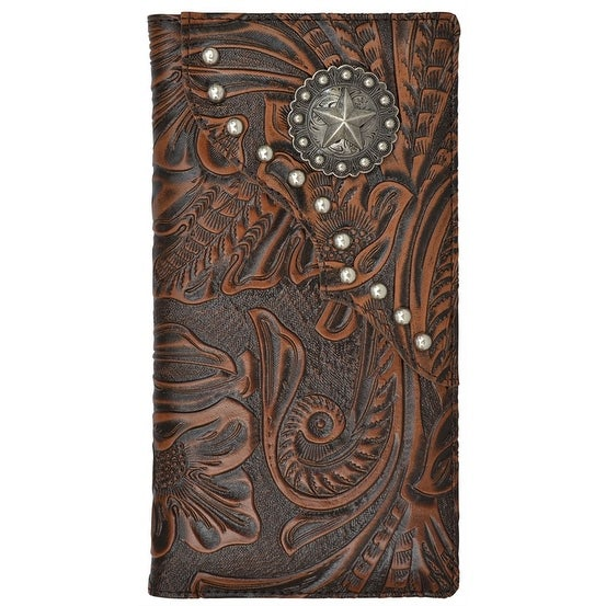 "3D Western Wallet Mens Rodeo Classics Concho Studs Berry Brown - 7 1/8"" x 3 3/4"""