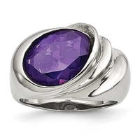 Stainless Steel Polished with Purple CZ Ring