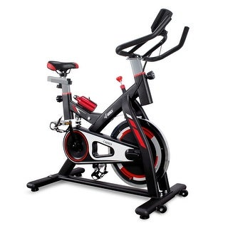AKONZA Health & Fitness Stationary Indoor Exercise Cycling Bike with Heart Pulse Sensors, High Weight Capacity, Black