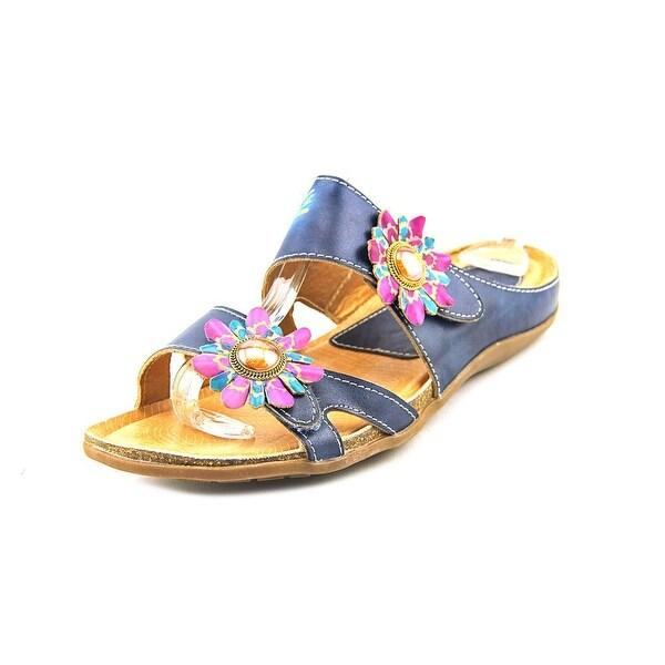 Spring Step Melange Women Open Toe Leather Blue Sandals