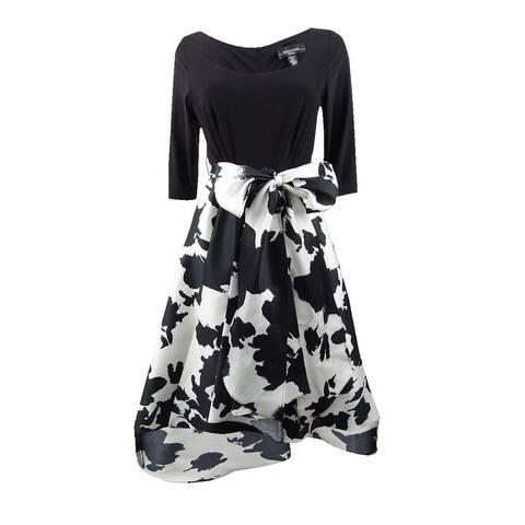 R&M Richards Women's Floral & Solid High-Low Dress (8, Black/White)