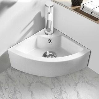 Gymax Bathroom Corner Ceramic Vessel Sink Angled Art Basin w/ Overflow & Faucet Hole