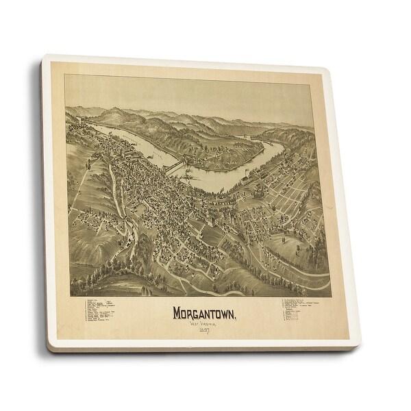 Morgantown, WV - Panoramic Map (Set of 4 Ceramic Coasters)