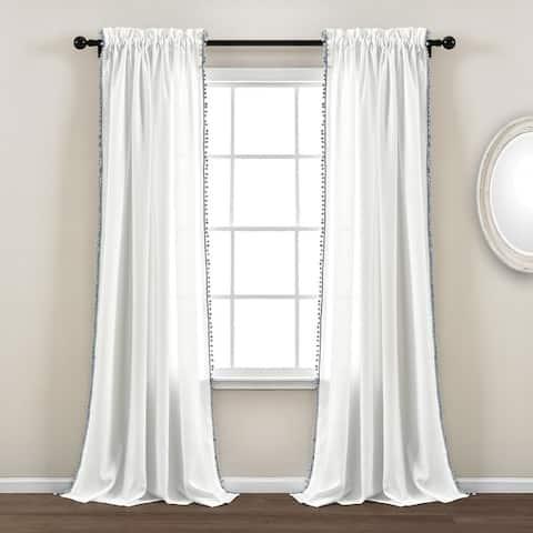 The Gray Barn Watertop Pom Pom 84-inch Curtain Panel