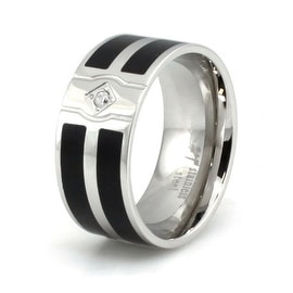 Stainless Steel Ring with Dual Resin Inlay & CZ