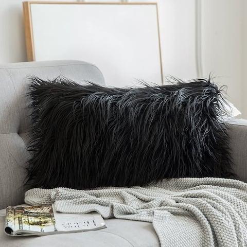 "Airi Home Luxury Collection Faux Fur Merino Tibetan Throw Lumbar Pillows 12"" x 20"" - INSERT INCLUDED"