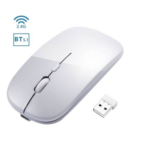 INSTEN - BT 5.1 2.4G Dual Mode Wireless Rechargeable Mouse, 1600DPI Portable Mouse for Laptop Windows 10 Android MacBook, Silver
