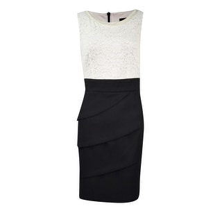 Link to Connected Women's Petite Lace Tiered Colorblock Sheath Dress Similar Items in Petites