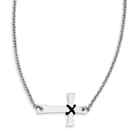 Chisel Stainless Steel Sideways Cross with Rubber Accent Necklace (2 mm) - 19.25 in