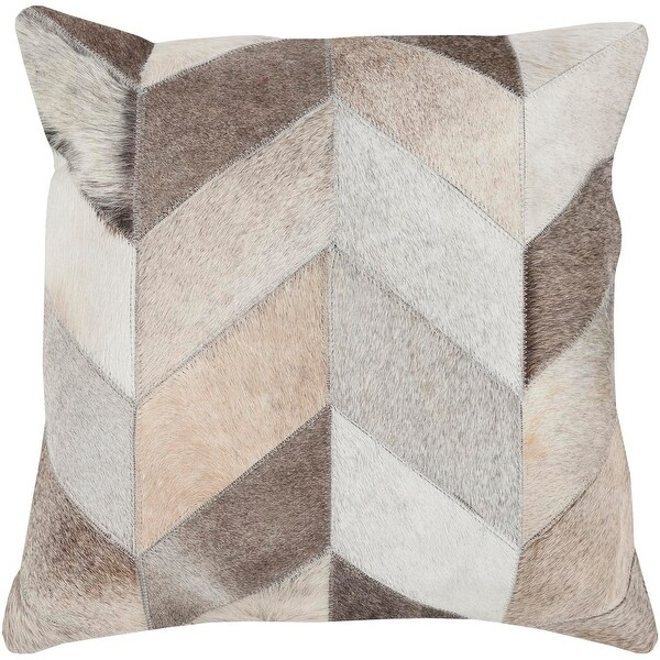 """18"""" Cocoa Brown, White and Gray Rustic Patterned Square Throw Pillow"""