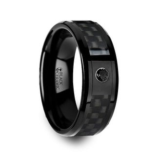 Aberdeen Black Ceramic Ring With Black Diamond Wedding Band And Black Carbon Fiber Inlay