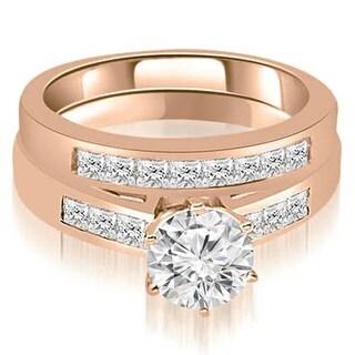 1.45 CT.TW Channel Set Princess Cut Diamond Bridal Set,HI,SI1-2